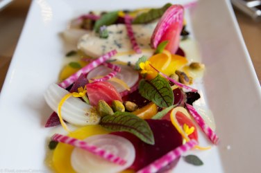 Roasted/Raw/Pickled Beet Salad Blue Cheese, Pepitas, Banyuls Reduction Preserved Lemon, Herbs